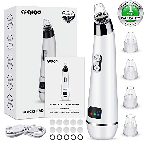 QIQIGO Blackhead Remover Pore Vacuum Upgraded 5 in 1 Blackhead Cleaning Tool Device Comedo Removal Suction Dermasuction Beauty Device Electric Blackhead Vacuum Cleaner Device for Men and Women