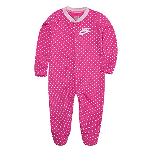 NIKE Children's Apparel Baby Graphic Footed Coverall, Laser Fuchsia Dot, 6M
