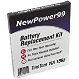 TomTom Via 1605 Battery Replacement Kit with Installation Video, Tools, and Extended Life Battery.
