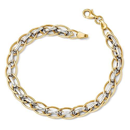 Leslie's 14K Two Tone Gold Polished Fancy Link Bracelet (Gold Polished Fancy Link)
