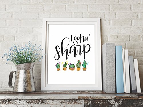Handlettered Cactus Graphic Design Print 8.5 x11 Artwork