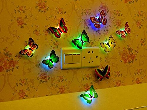 20 PCS LED Flashing 3D Butterfly Wall Decor Night Light ...