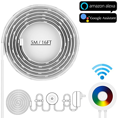 LED Strip Lights, VIMVIP 16.4FT LED Smart Light Strip Compatible with Alexa and Google Assistant by Android, IOS Device WIFI Wireless Control Colorful RGB Led Tape Lighting