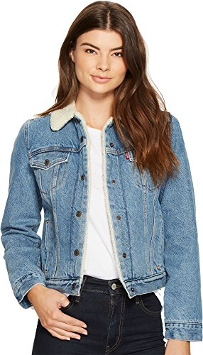 Levi's Women's Original Sherpa Trucker Jackets, Divided Blue, (Plaid Crop Jacket)