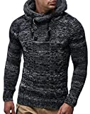 Hajotrawa Men's Hip Hop Knitted Double-Breasted Woven Drawstring Hoodid Burnout Jumper Sweaters Black L