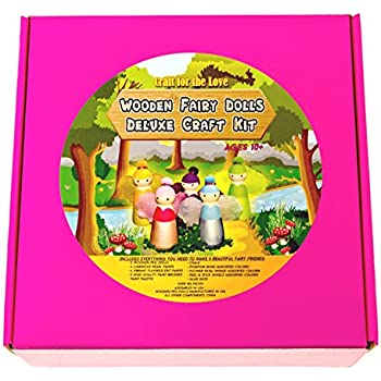 Wooden Fairy Dolls Deluxe Craft Kit for Children and Adults: Paint and Decorate Five 3 1/2 Inch Hardwood Fairy Dolls