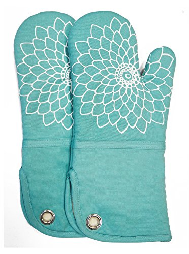 RED LMLDETA Silicone Printing Oven Mitts/Gloves 1 Pair, Heat Resistant to 500 Degree, Non-Slip for Home Kitchen Cooking Barbecue Microwave for Women/Men Machine Washable BBQ (Blue)