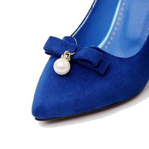 AllhqFashion Mujeres Tacón de aguja Puntera en Punta Sin cordones De salón con Joyas Azul