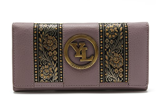 yl-womens-genuine-leather-clutch-wallet-purse-hipster-embroidery-lace-yl-21-purple