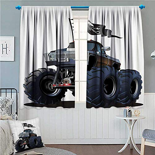 zojihouse Cars Decor Popular Large Suspension Monster Truck with Dead Skull Pirate Flag Off to Road Artsy Cadet Blue and White 72