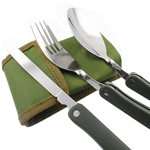 BestDealGift Compact Foldable Cutlery Utensil Set for Travel Outdoor Camping Hiking Picnic BBQ Fishing/Packed Lunch Fork Knife Spoon three pieces Portable Pocket Tableware Set in Canvas Carry Pouch