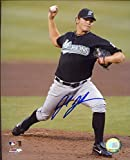 Josh Johnson Autographed /Original Signed 8x10 Photo w/ the Florida Marlins (2005-2012) Pose 2