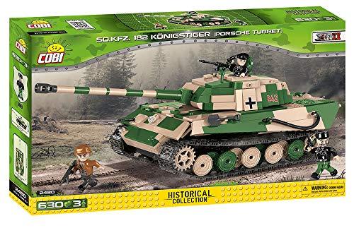 "(COBI 2480, Tiger II PzKpfw VI B ""Konigstiger"" with Porsche Turret, 630 Building Bricks)"