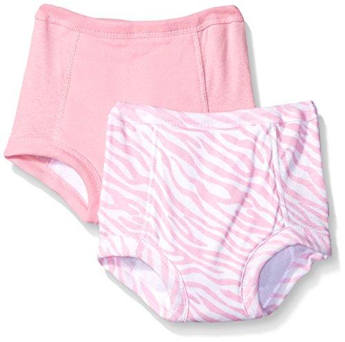 Gerber Little Girls' 2 Pack Zebra Training Pant with Peva Lining, Pink, 2T/3T