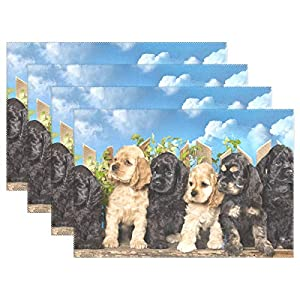 Chen Miranda American Cocker Spaniel Dogs Polyester Placemats of Home Decor for Dining Table Party Kitchen Table Everyday Use Meal Pad Cup Mat 12x18 inch 4