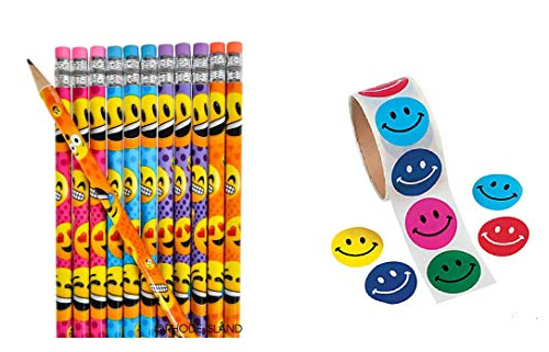 Awesome Colorful Emoji ~ Smiley Face Party Favors ~ 12 Emoji Pencils & 100 Smiley Stickers ~ Giveaways, Goody Bags, Classroom Student Awards