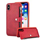 Aearl iPhone X Zipper Wallet Case,iPhone X Leather Case with Card Holder,Apple iPhone X Flip Folio Credit Card Slot Money Pocket Magnetic Detachable Buckle Wallet Phone Case for Women Men-Red