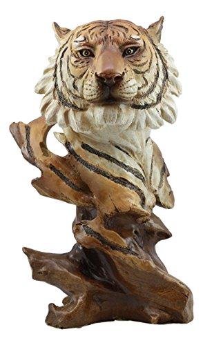 Ebros Faux Wood Large Jungle Wildlife Orange Bengal Tiger Bust Statue 11