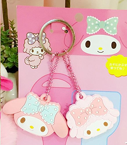CJB Lovey My Melody Keychain Plastic Sleeve Cap Set of 2 Pink (US Seller)