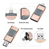 USB Flash Drive 128 GB iPhone Memory Stick OTG Cell Phone External Storage Memory Expansion Adapter for iPhone& iPad IOS Macbook (Gold)