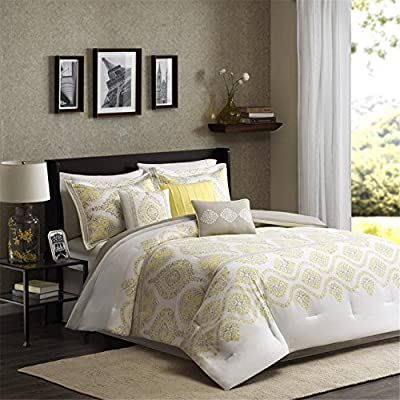 Madison Park Libreto 7 Piece Comforter Set, Queen, Yellow - Set includes: 1 comforter, 2 standard shams, 1 bed skirt, 3 decorative pillows Cover: 100percent Cotton filling: 100percent polyester Measurements(1): 90-by-90-inch comforter, 20-by-26-inch standard shams, 60-by-80-inch bed skirt with a 15-inch drop - comforter-sets, bedroom-sheets-comforters, bedroom - 51P66CgW sL. SS400  -