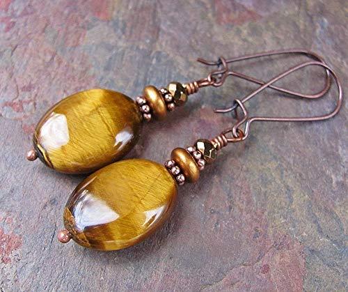 Copper Earrings w/Tiger Eye Stone Tigereye Handcrafted Gemstone Jewelry