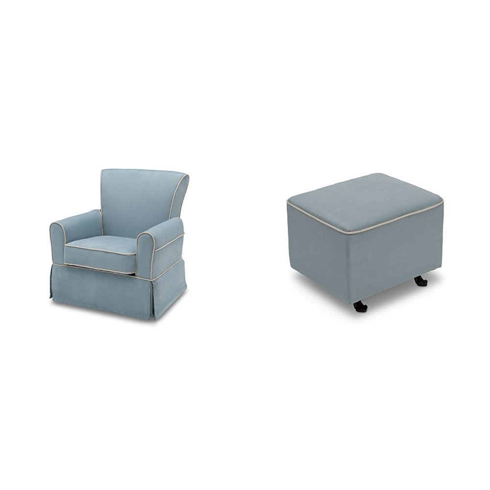 Delta Furniture Benbridge Glider Swivel Rocker Chair and Gliding Ottoman, Frozen Blue with Cream Welt