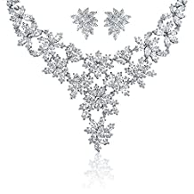Bling Jewelry Marquise CZ Bridal Necklace Earrings Set Rhodium Plated