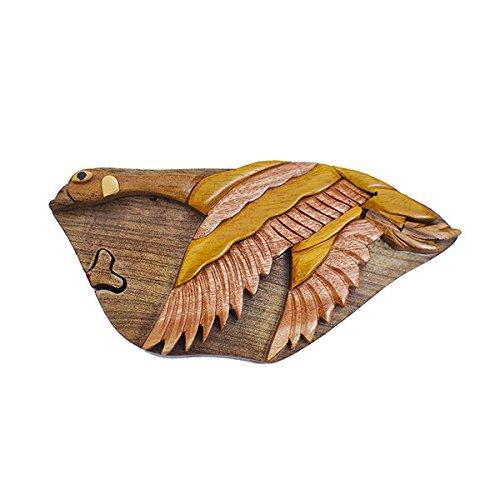 Handmade Wooden Art Intarsia TRICK SECRET Flying Goose Bird Puzzle Trinket Box (3354) (g2)