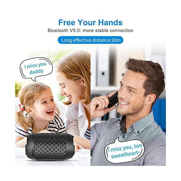 Enceinte Bluetooth Portable, 8W Enceintes Portable Haut-Parleur Bluetooth 4.2 sans Fil, avec Son 360°, Basse Améliorée, Carte TF, Mains Libres, Etanche, 12 Heures d'autonomie pour Gym/Jogging 4