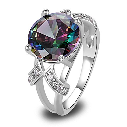 Psiroy 925 Sterling Silver Created Rainbow Topaz Filled Solitaire Promise Ring Size 9