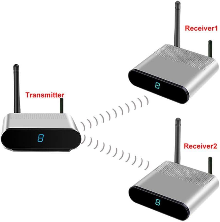 Hopcd Sistema inalámbrico de transmisión de Audio y Video en el hogar, 2.4GHz 8 Canales AV RCA Inalámbrico HD Transmisor de Audio y Video en el hogar Receptores del Sistema PAL/NTSC(EU)
