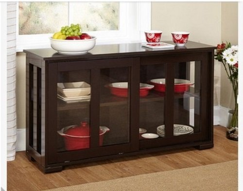 Simple Living Engineered Wood / Tempered Glass Stackable Cabinet, (Dining Room Furniture)