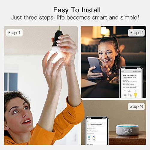 Smart Light Bulbs, Treatlife WiFi LED Light Bulb, Dimmable Smart Bulb Works with Alexa, Google Home, SmartThings, Warm…