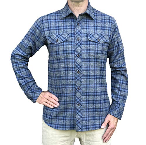 Inland Pacific Men's 5 oz Flannel Grindle Shirt Gray/Blue Grindle X-Large (5 Oz Flannel Shirt)