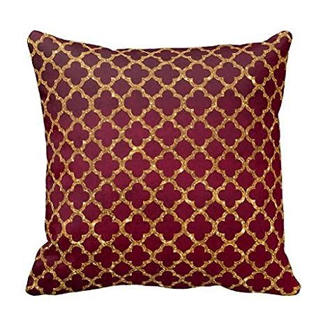 Chic Gold Glitter Quatrefoil Girly Red Burgundy Throw Pillows Case Home  Decorative Canvas Accent Pillow Sham