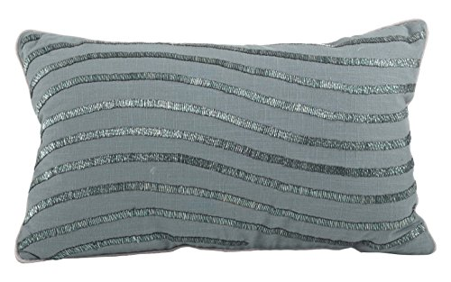 (SARO LIFESTYLE 1850 Bellissima Collection Cotton Wavy Beaded Design Down Filled Throw Pillow, 12