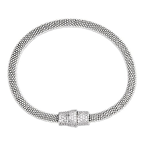 Designs by Nathan Sterling Silver Mesh Magnetic Clasp Bracelet, in Several Colors (Rhodium Plated Silver, Medium Size) by Designs by Nathan