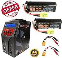 Powerhobby 3S 11.1V 6500mAh 100C Lipo Battery (2 Pack) XT90 Plug w/ Lipo Charger Fits : Arrma Kraton / Fazon / Typhon / Nero / OUTCAST / Tailon / Senton
