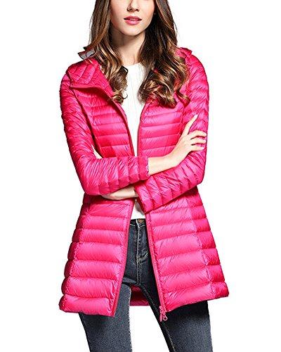 ZhuiKun Women's Down Coat Lightweight Packable Long Hooded Puffer Jackets Outwear Rose