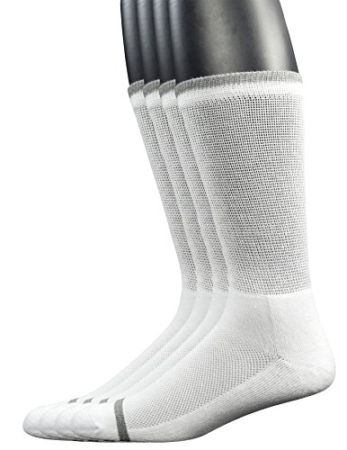 Yomandamor Men's 4 Pairs Bamboo Diabetic Crew Socks with Seamless Toe and Cushion Sole