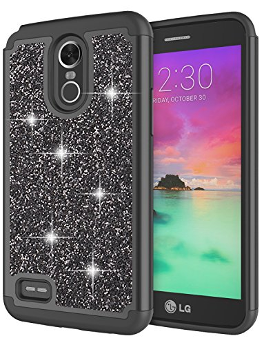 Protector Rubberized Black Shield Case (LG Stylo 3 Case, LG Stylo 3 Plus Case for Girls, Jeylly Glitter Luxury Crystal Dual Layer Shockproof Hard PC Soft TPU Inner Protector Case Cover for LG Stylo 3/Stylo 3 Plus 2017 - Black)
