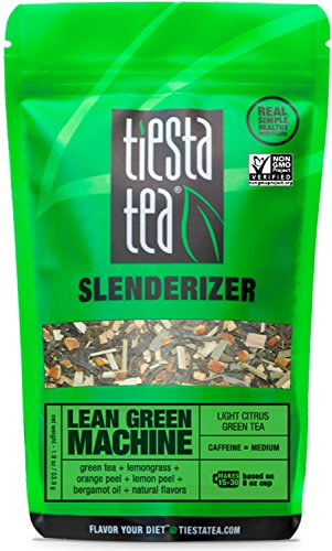 Light Citrus Green Tea | LEAN GREEN MACHINE 1.9 Ounce Pouch by TIESTA TEA | Medium Caffeine | Loose Leaf Green Tea Slenderizer Blend | Non-GMO