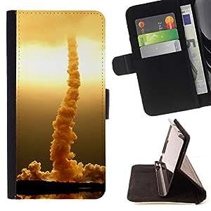 For HTC One M7 - Rocket rises /Funda de piel cubierta de la carpeta Foilo con cierre magn???¡¯????tico/ - Super Marley Shop -