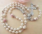 Catholic Baby/Toddler Personalized White Pearl, Porcelain Rose and Swarovski Crystal Rosary