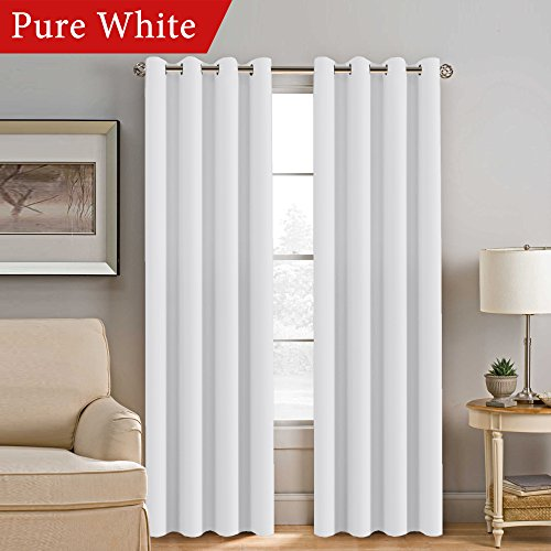 White Curtain 84 inches Long for Bedroom Room Darkening Thermal Insulated Window Treatment Panel / Drape for Living Room - Set of 1 Panel - Grommet - New Trends In Glasses
