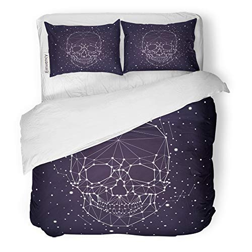 - Emvency 3 Piece Duvet Cover Set Brushed Microfiber Fabric Breathable Star Constellation Skull Outline Map Space Bedding Set with 2 Pillow Covers King Size