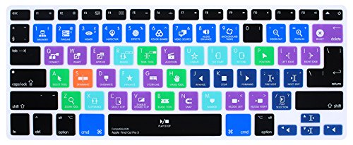 HRH Final Cut Pro X Shortcuts Hotkey Silicone Keyboard Cover Skin for MacBook Air 13,MacBook Pro13/15/17 (with or w/Out Retina Display, 2015 or Older Version)&Older iMac,USA and European Layout