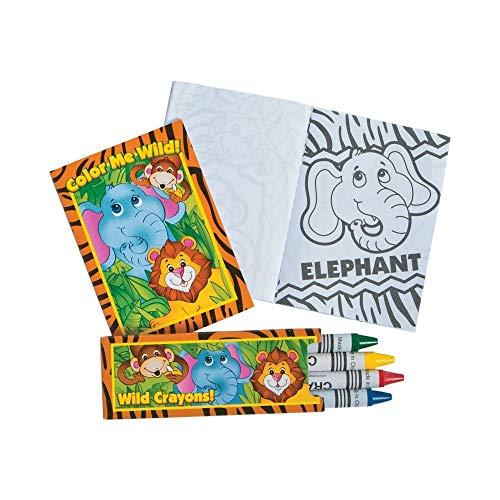 Fun Express Zoo Jungle Animal Coloring Book and Crayon Sets - 12 Sets