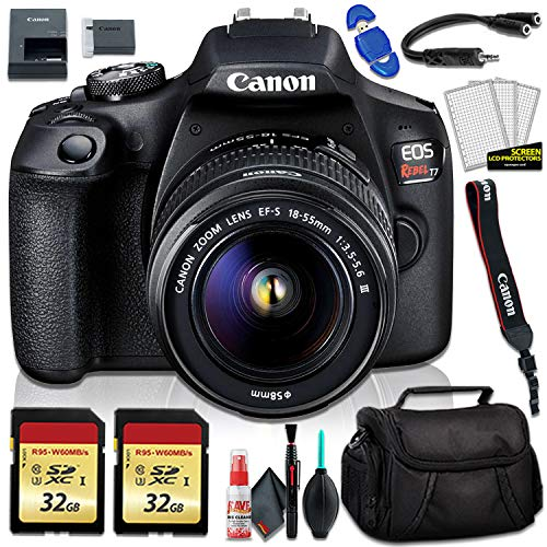 Canon EOS Rebel T7 DSLR Camera with 18-55mm Lens, Camera Bag and 32GB Memory Card Kit